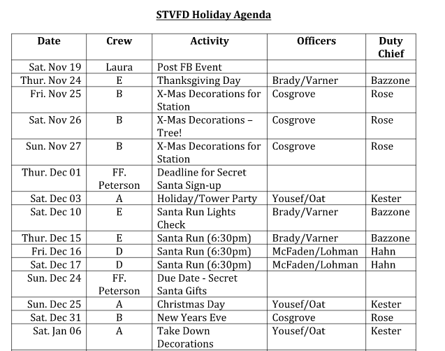 Holiday schedule for duty crew